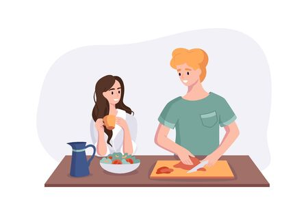 Young couple is talking while cooking breakfast at the dinner table in the kitchen. Woman drinking coffee and talking to her husband. Man preparing meals at home. Male cartoon character making lunch or dinner. Illustration
