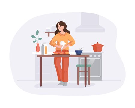 Adorable woman cooking on table in kitchen. Girl prepares cakes for baking. Culinary hobby vector illustration concept. Front view interior scene in flat style