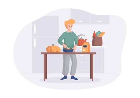 Adorable man cooking on kitchen table. Cartoon male character making lunch or dinner. Culinary hobby vector illustration concept. Front view interior scene in flat style