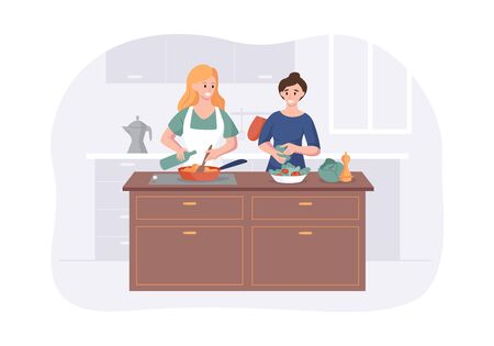 Couple girlfriends cooking on kitchen table. Two girls meal preparation for dining together. Vector cartoon female characters cooking scene