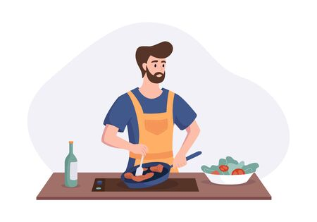 Chef cooking dinner at the table in the kitchen. Cartoon character concept preparing meals at home in flat style. Vector illustration.