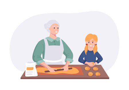 Grandmother and granddaughter couple cooking dinner at the table in the kitchen. Cartoon character concept preparing meals at home in flat style. Vector illustration.