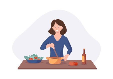Smiling woman cooking on kitchen table. Wife cooked soup and tastes it with a spoon. Vector illustration home concept preparing homemade meals for dinner. Illustration