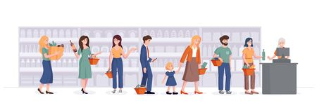 People with baskets stand in line at the checkout in the supermarket. Consumer in grocery store waiting in line and talking on the background of shelves. Vector shopping concept illustration.