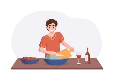 Adorable man cooking on kitchen table. Cartoon male character making salad for lunch or dinner. Culinary hobby vector concept. Front view interior scene in flat style