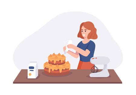 Smiling girl a dish cake on kitchen table. Woman in the kitchen preparing homemade meals for dinner. Vector illustration cooking at home concept.