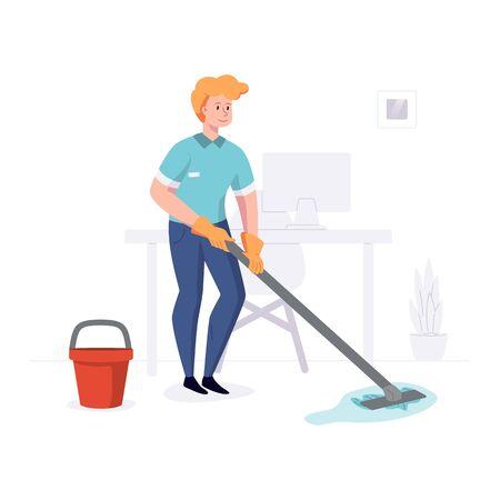 Man from cleaning company staff cleans the office with a mop with water. Vector illustration in a flat style
