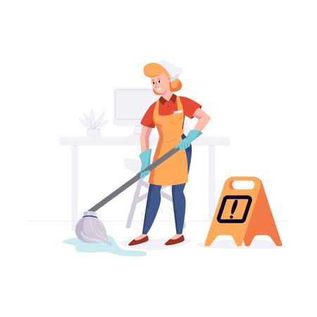 Woman from cleaning company staff cleans the office with a mop with water. Vector illustration in a flat style.