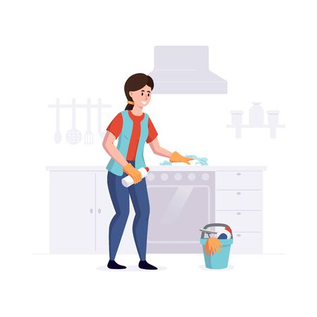 Woman from a cleaning service professional cleans cooking surface in the kitchen. Vector illustration.