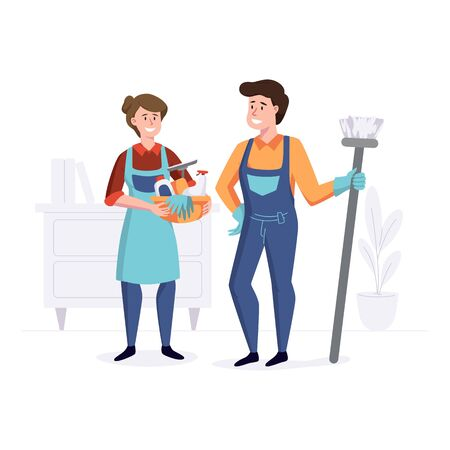 Smiling staff from the cleaning company after cleaning. Professional service team concept. Vector illustration.