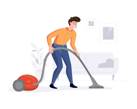 Professional cleaner cleans the house with a vacuum cleaner. Cleaning service professional duties offer conceps. Vector illustration.