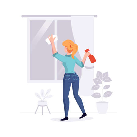 Cleaning professional staff cleans the house. Woman from the cleaning service washes the windows duties offer. Vector illustration.