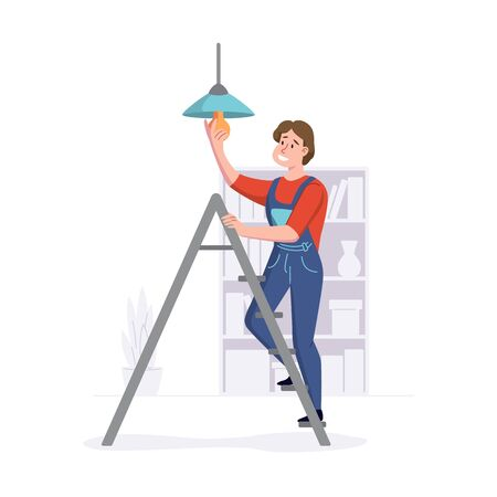 Man provides repair services in homes or offices. Cleaning service professional works on a ladder. Vector illustration.