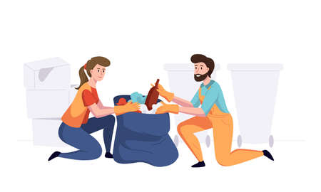 Man with woman from cleaning company staff collecting garbage in package. Vector illustration in a flat style.