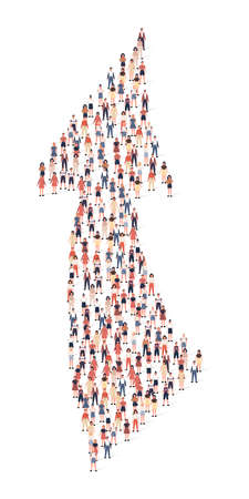 Large group of people in shape arrow. Vector illustration