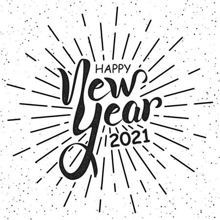 Happy New Year 2021 handlettering in black and white retro style. Vintage holiday lettering poster. Calligraphy greeting text on firework background. Vector Illustration New Year eve