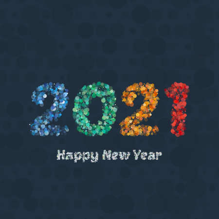 Creative colorful circle halftone pattern number. Happy New Year 2021 design greetings card. Vector illustration