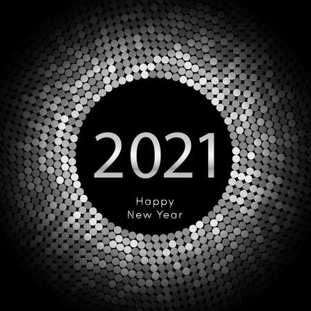 Happy New Year 2021 dot background. Calendar decoration. Greeting card. Chinese calendar template for the year of mouse. Vector illustration eps10