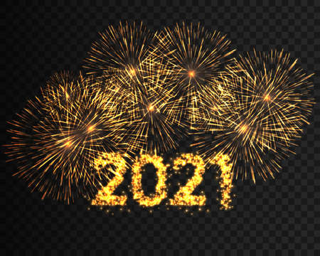 Happy New Year 2021 golden firework background. Calendar decoration new year. Greeting card new year. Chinese calendar template for the new year of mouse. Vector illustration eps10