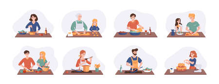 Collection of cartoon smiling people cooking on home kitchen table. Various cartoon set man, woman, couple family preparing food. Vector illustration isolated on white background