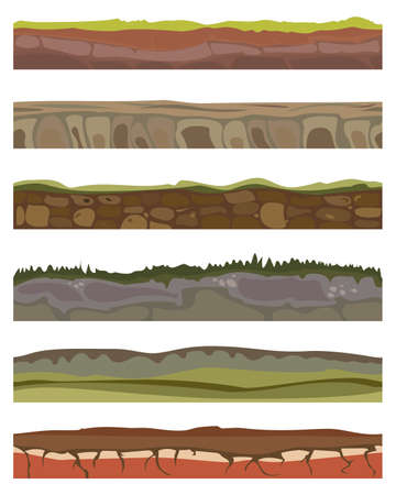 Seamless various sliced soil grounds for ui game. Soils foreground land area in cartoon style with blades of grass, rocks layers. Vector illustration