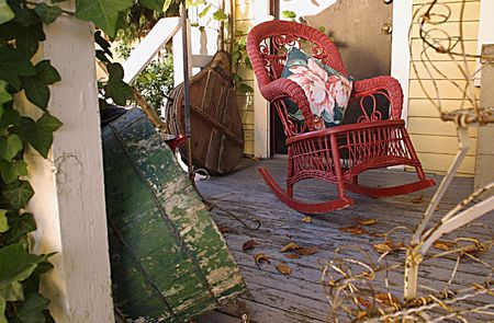 wicker porch rocker