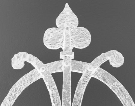 wrought iron detail, inverted greyscale