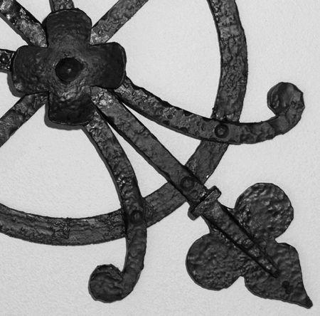 wrought iron detail, greyscale Stockfoto