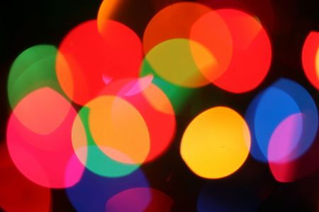 festive lights through frosted glass