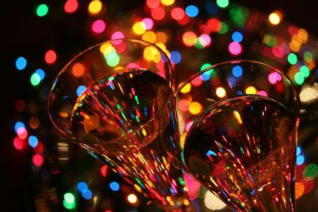 crystal glasses, sparkling wine, festive lights....celebrate!