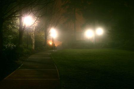 andamp: misty, moody effect of fog on park andamp,amp, street lights
