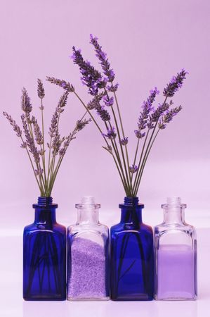 soothe: lavender: bud & flowering stems, bath salts, foam or lotion Stock Photo