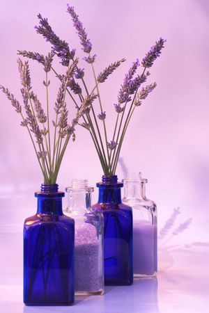 muscle relaxant: lavender: bud & flowering stems, bath salts, foam or lotion Stock Photo