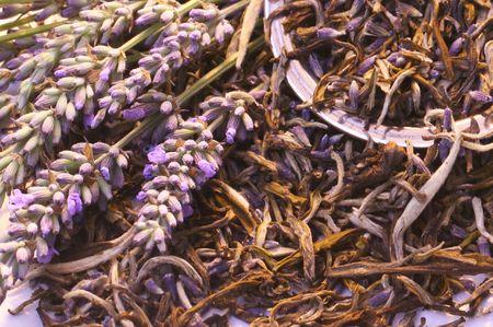 harvests: fresh lavender; lavender tea, tea strainer