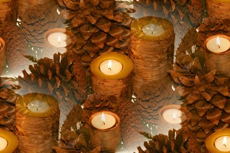 birch bark candles surrounded by pinecones large to small