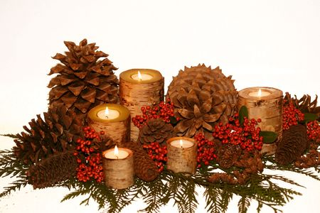 birch bark candles, pinecones, pyracantha berries, cedar greens Stockfoto