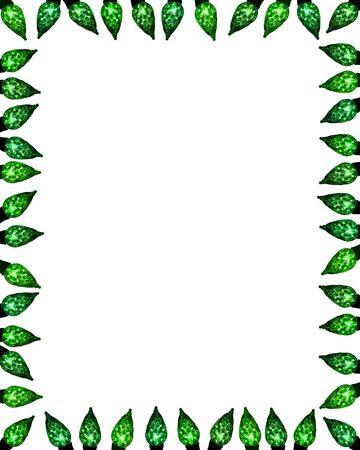 festive facet light border frame background in shades of green