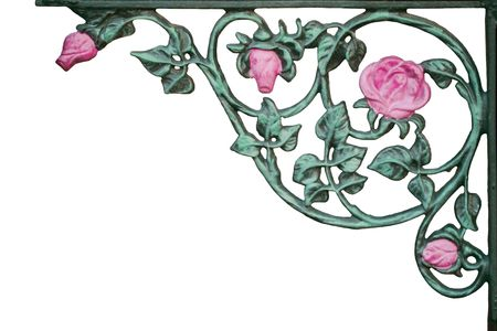 old wrought iron pink rose vine bracket