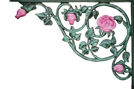 old wrought iron pink rose vine bracket
