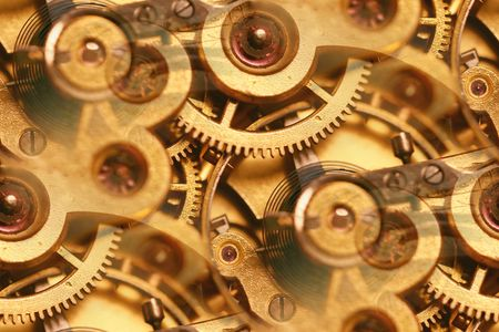 clockwork: clockwork mechanism abstract; inner workings of an antique fob watch