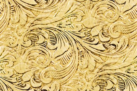 embossed: elegant flourishes: antique silver engraved design as pattern repeat Stock Photo