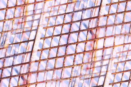 corroded: corroded metal grid pattern repeat Stock Photo