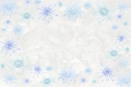 vintage chandelier crystals & bobeches as snowflakes atop jack frost icy wintry window pattern