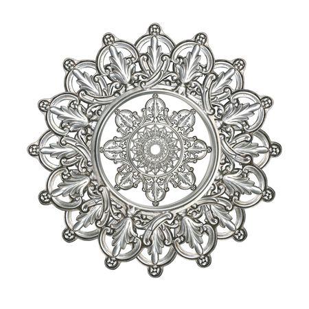 装飾的な星、メダリオン、雪片や他のデザイン要素としてアンティークの銀 写真素材