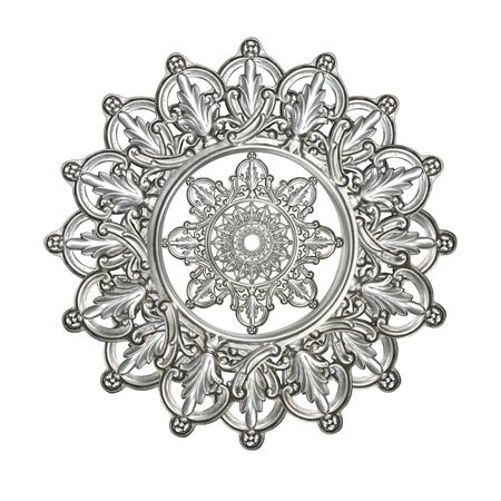 antique silver as decorative star, medallion, snowflake or other design element photo