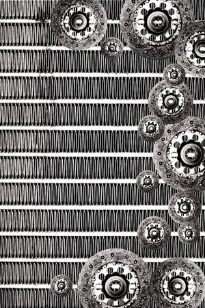 clutch plate & radiator grunge background Stock Photo