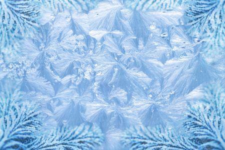 jack frost ice crystal patterns & snowy spruce branch tips Stockfoto