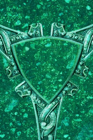 celtic shield: antique silver design as shield, background photo