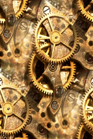 clockwork: vintage watch parts abstract Stock Photo