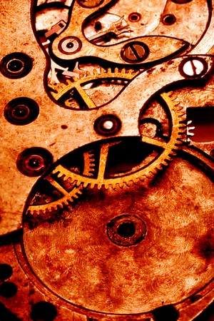 grunge clockwork gears abstract Stock Photo